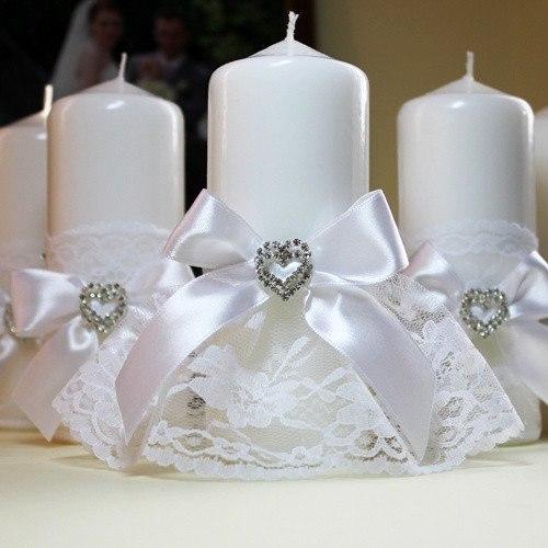 Декор свадебных свечей своими руками фото лентами и кружевом